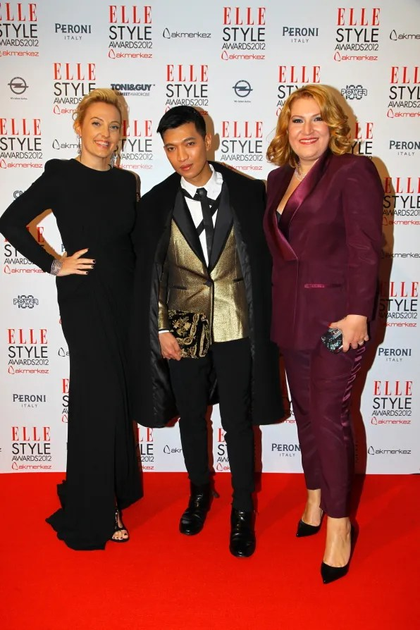 Bryanboy with Işın Görmüş and Işık Şimşek of Elle Turkey
