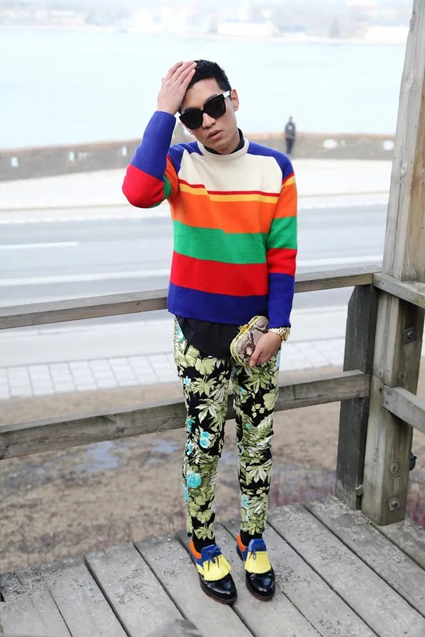Bryanboy wearing a J Crew sweater similar to JW Anderson