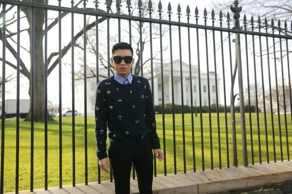 Bryanboy standing outside the White House in Washington DC