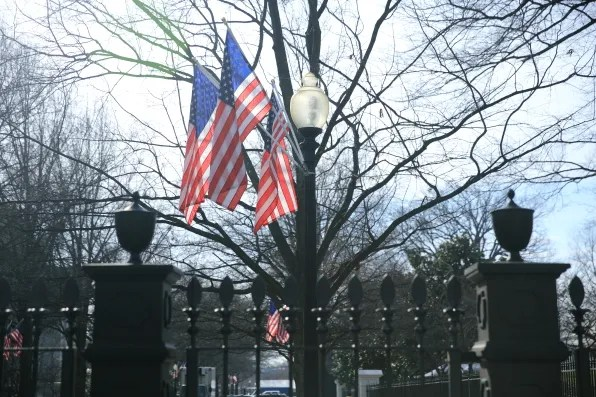 American flags at the White House in Washington DC