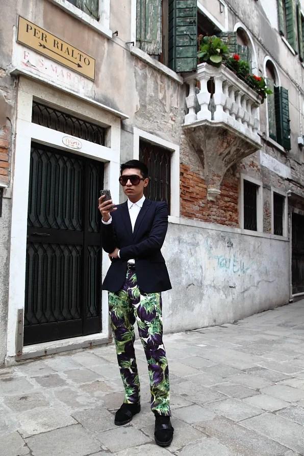 Bryanboy outside Campo San Simeon Profeta, Venezia