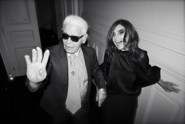 Karl Lagerfeld and Carine Roitfeld at the Carine Roitfeld black-tie 'Le Bal' for MAC Cosmetics