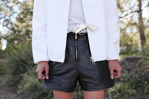 Bryanboy wearing a 3.1 Phillip Lim jacket and Alexander Wang perforated leather and suede shorts