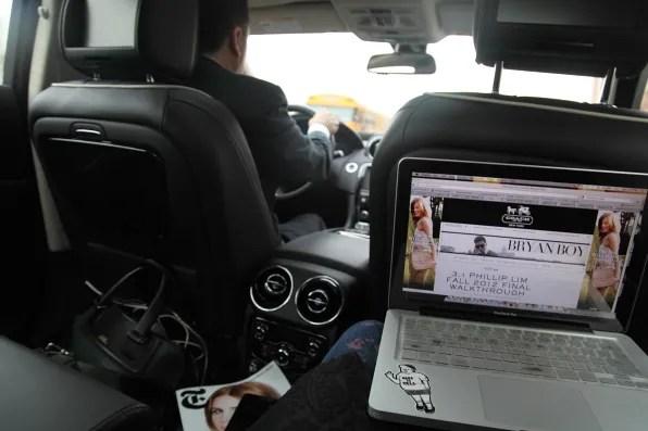 Inside Bryanboy's Jaguar XJ car