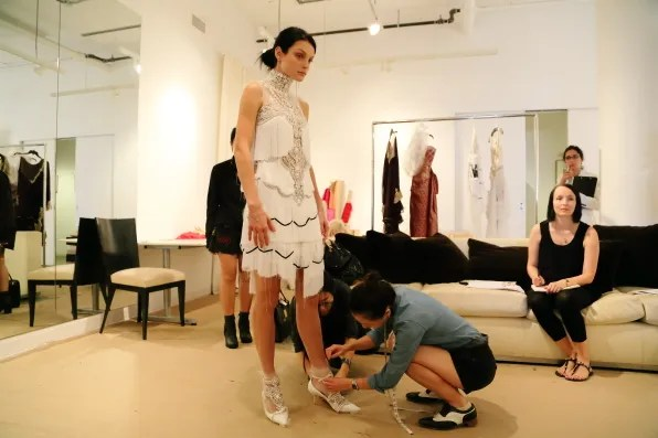 Jessica Stam's spring/summer 2013 Marchesa fashion show fitting at Marchesa studio