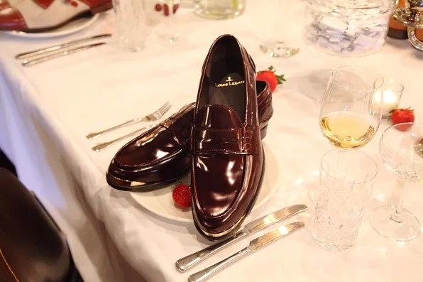 Louis Leeman Paris shoes fall winter 2012 burgundy leather loafer with gold metal details