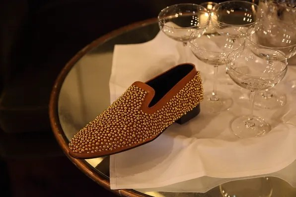 Louis Leeman Paris shoes fall winter 2012 brown leather slipper with gold beads