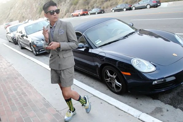 Bryanboy in front of Moonshadows restaurant, Malibu, California