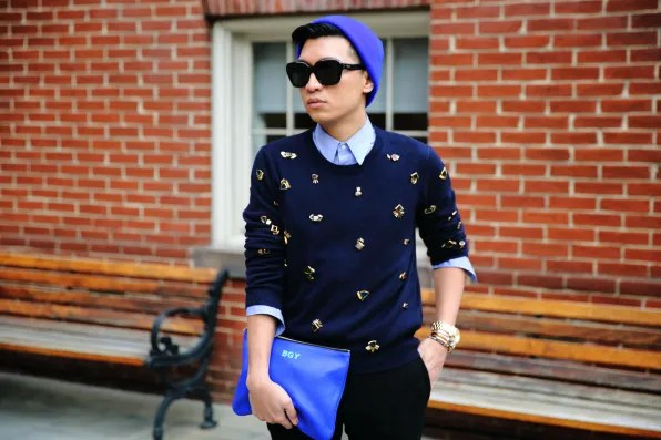 Bryanboy in Washington DC wearing a 3.1 Phillip Lim women's resort 2013 sweater