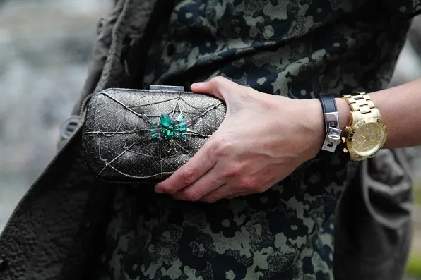 Corto Moltedo bejeweled spider clutch bag