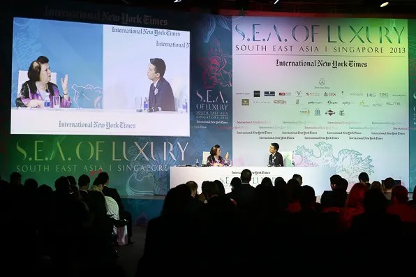 Suzy Menkes in conversation with Bryanboy at the International New York Times Luxury Conference in Singapore