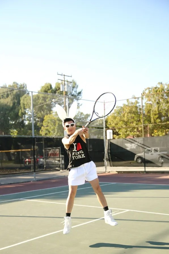 Bryanboy in 3.1 Phillip Lim spring summer 2013 clothes playing tennis