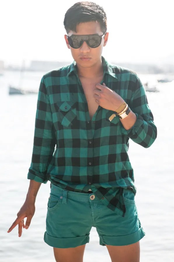 Bryanboy wearing Replay Jeans checkered shirt and shorts in Ibiza