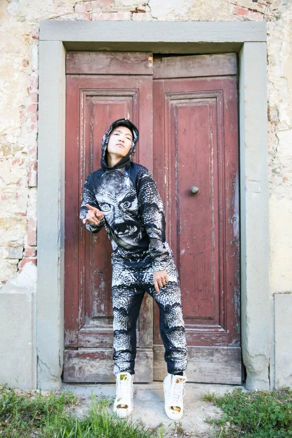 Bryanboy in Florence wearing a Christopher Kane sweatshirt from Fall/winter 2013