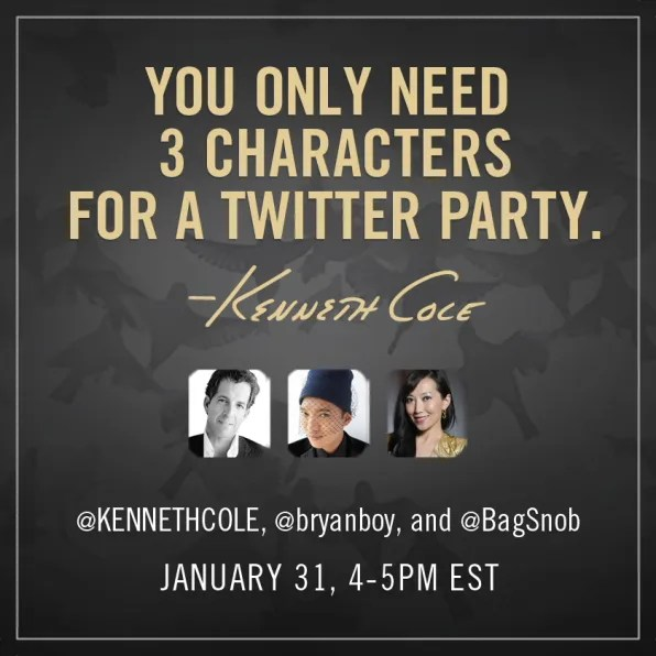 Kenneth Cole Twitter party with Bryanboy and Bagsnob
