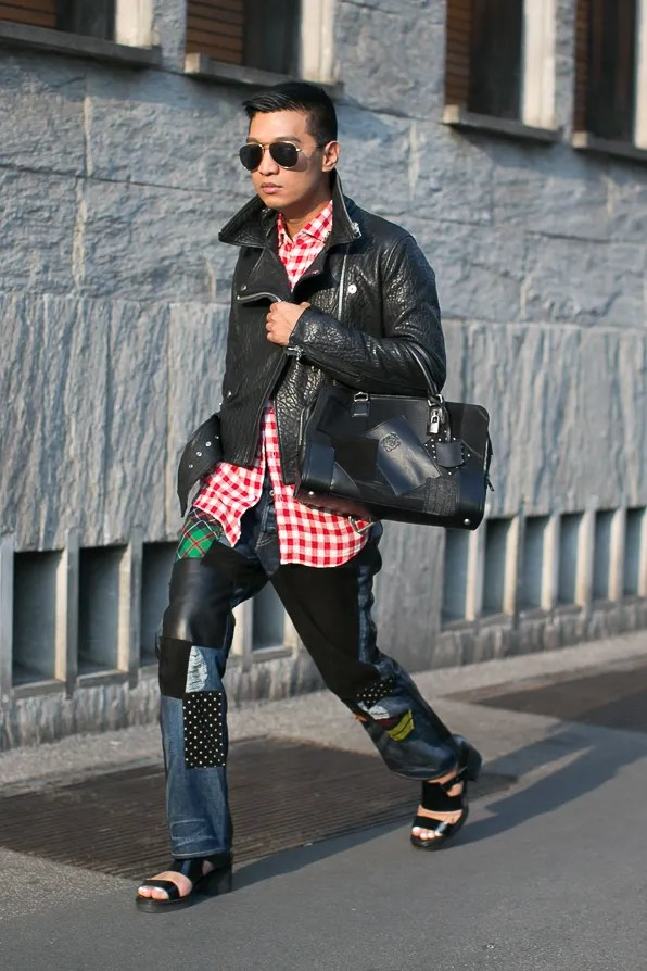 Loewe and Junya Watanabe collaboration worn by Bryanboy in Milan