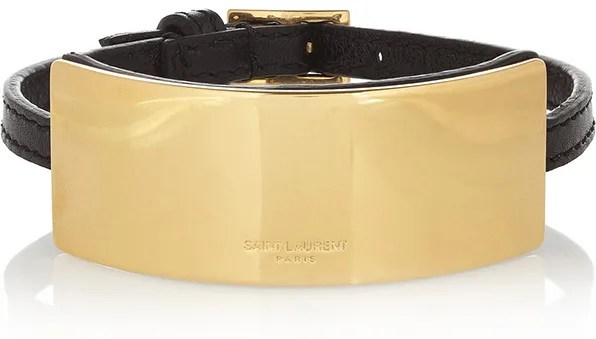Saint Laurent Paris gold and leather bracelet