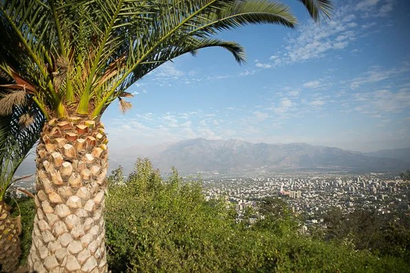 View of Cerro San Cristobal in Santiago, Chile