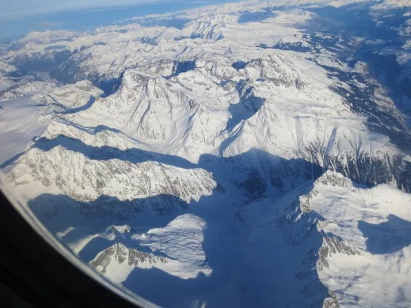 View of the Swiss Alps from a Swiss flight to Zurich