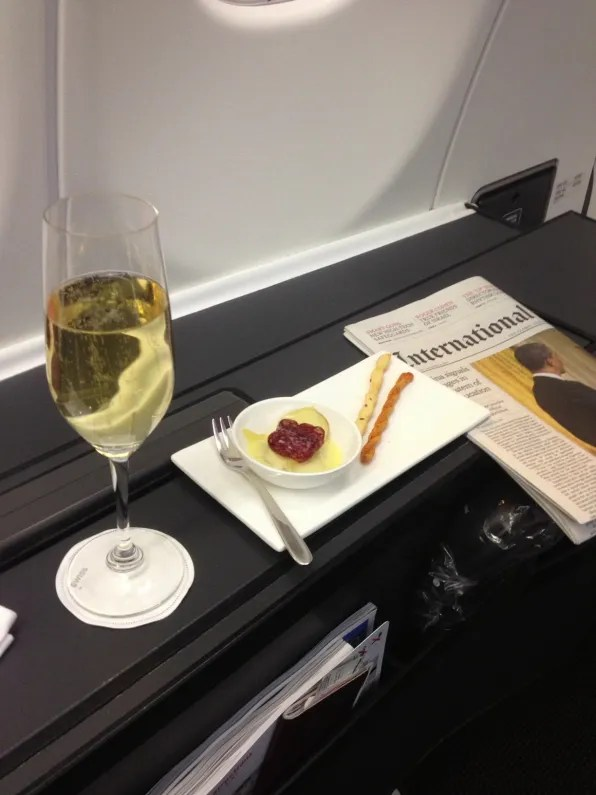 Champagne on Swiss first class Zurich to Bangkok