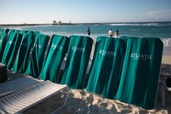 Beach lounge chairs at the Cove, Atlantis Bahamas