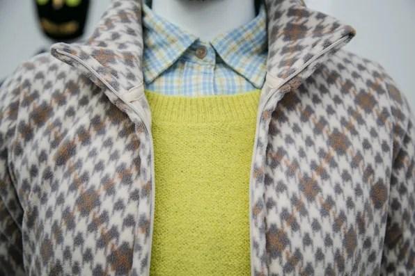 Close up view of fleece zip jacket by Uniqlo Lifewear fall winter 2013