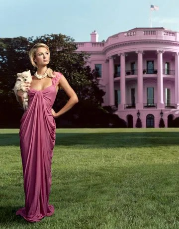 Paris Hilton for President photo posing with a pink white house on the background.