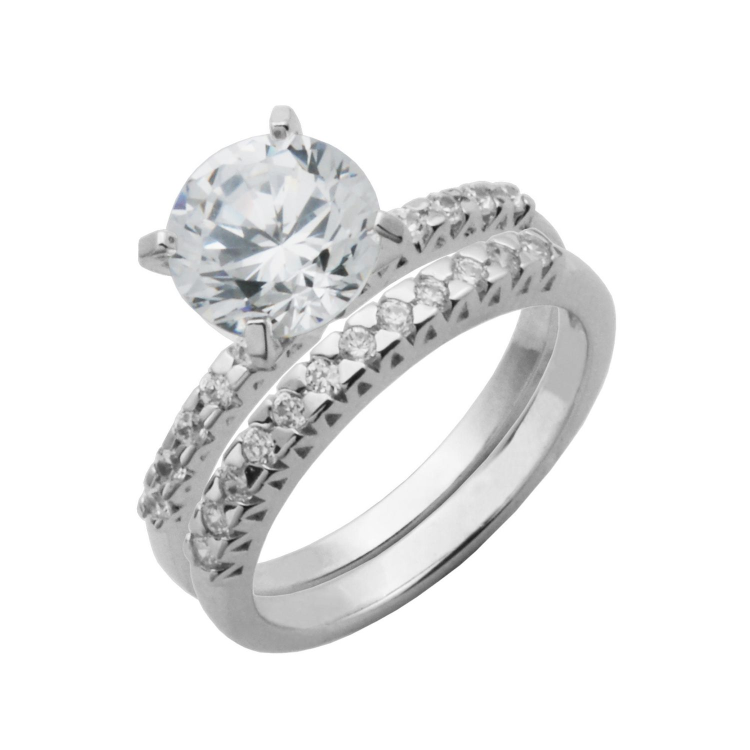 walmart wedding ring sets Bride to Be Sterling Silver 8mm Round Cubic Zirconia Engagement Ring Set Walmart ca