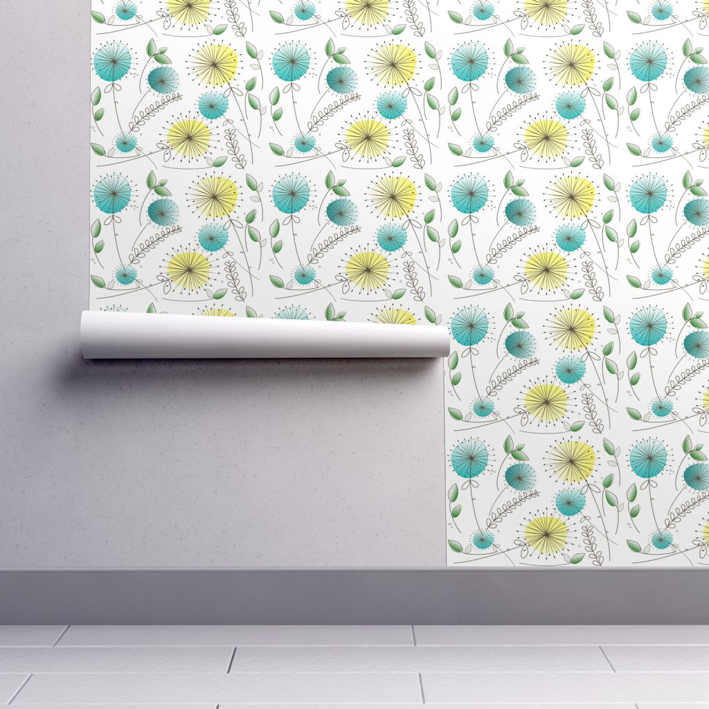 Removable Water-Activated Wallpaper Mid-Century Modern Retro Vintage Mod Gail - Walmart.com
