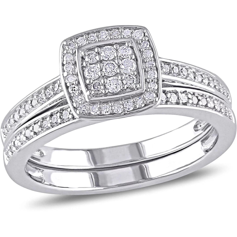 1 carat diamond wedding ring sets walmart wedding band sets Miabella 1 4 Carat T W Diamond Sterling Silver Halo Bridal Set Walmart Com
