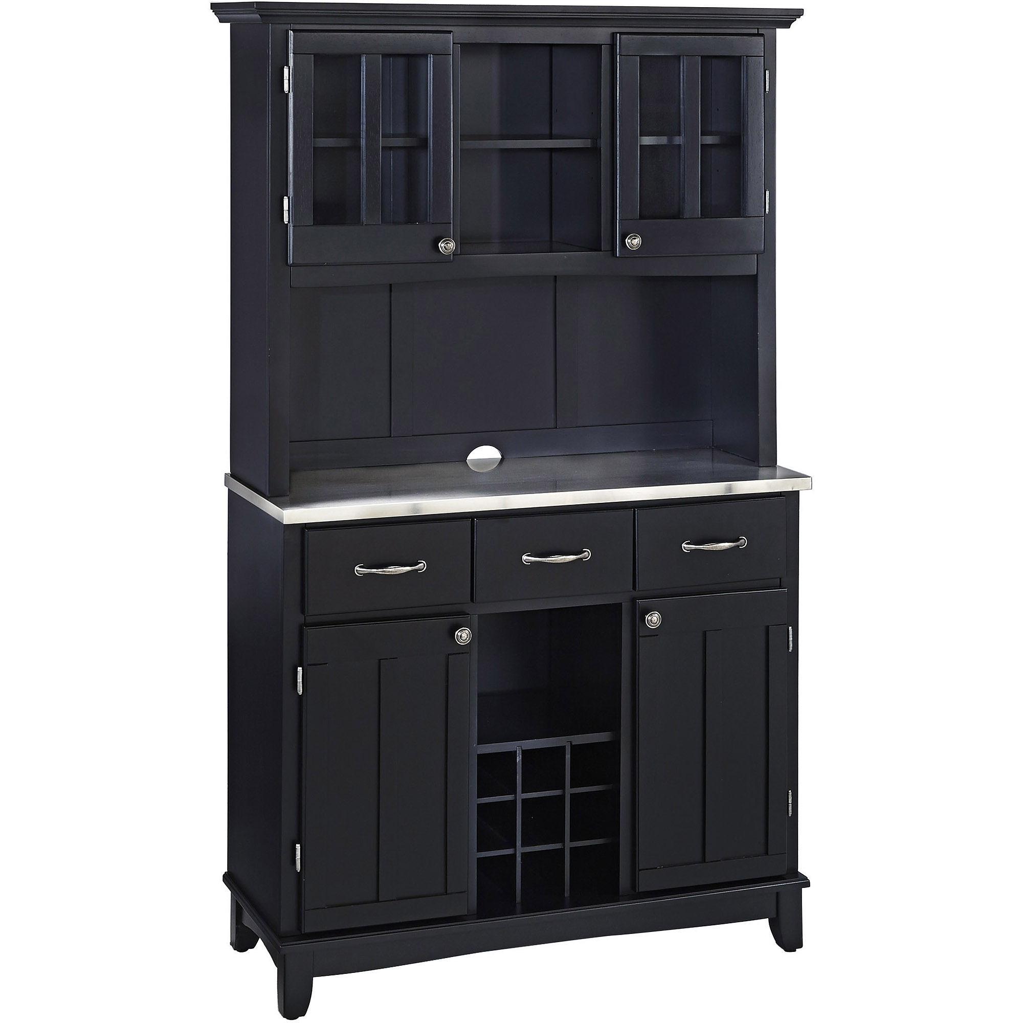 Home Styles Large Buffet & Two-Door Hutch, Black Finish ...