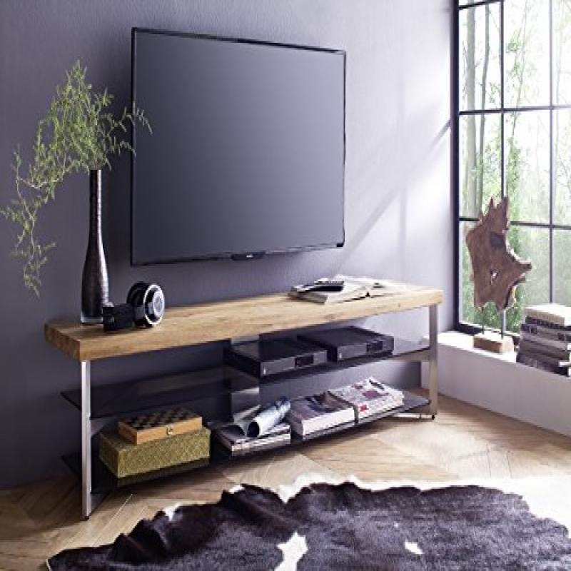 FABIA 160 TV Stand  Oiled Solid Oak Top Brushed Stainless Steel Frame And Safety