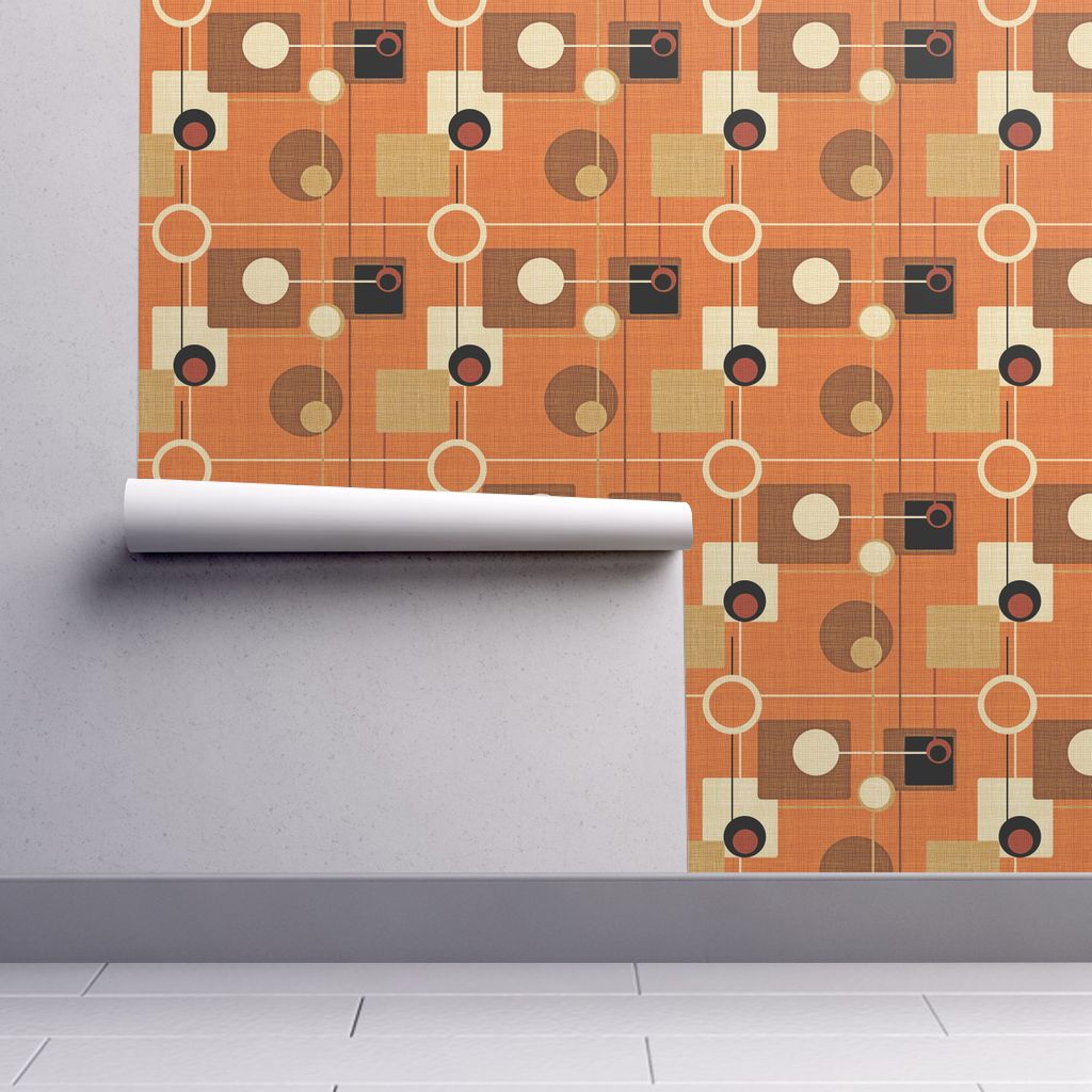 Removable Water-Activated Wallpaper Mid Century Modern Orange Mid Century Modern - Walmart.com