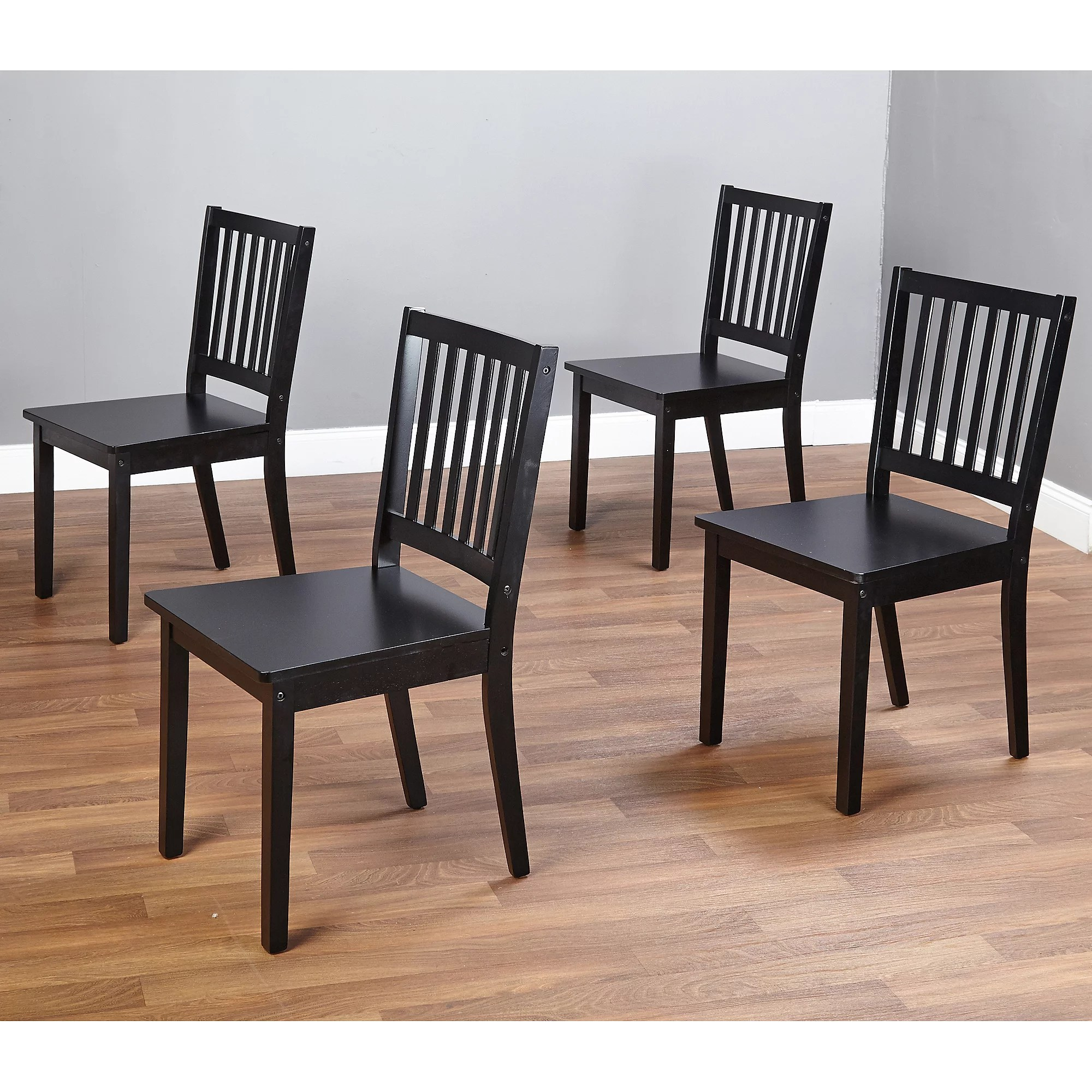 kitchen chairs with rollers Shaker Dining Chairs Set of 4 Black
