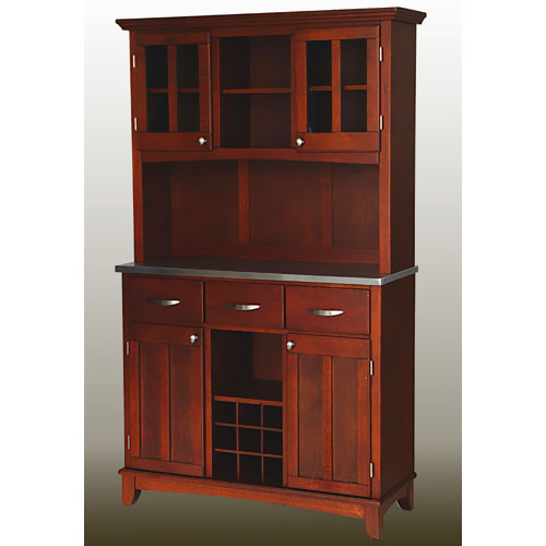 Home Styles Large Buffet with Two Glass Door Hutch, Cherry ...