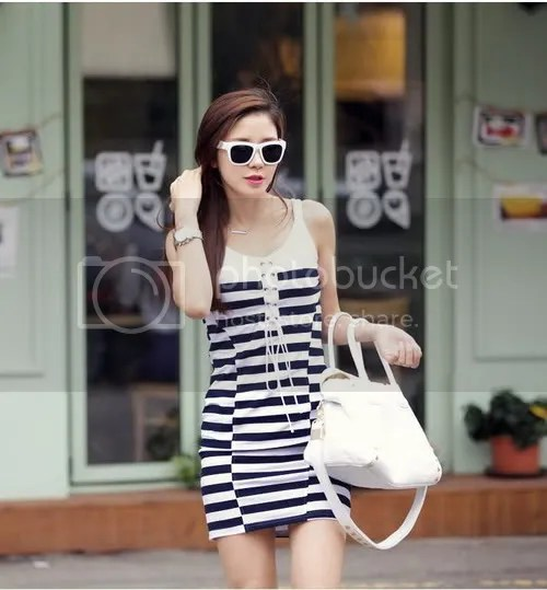 B3158 elegant ladies casual striped straps sleeveless & # 20462; itself dress