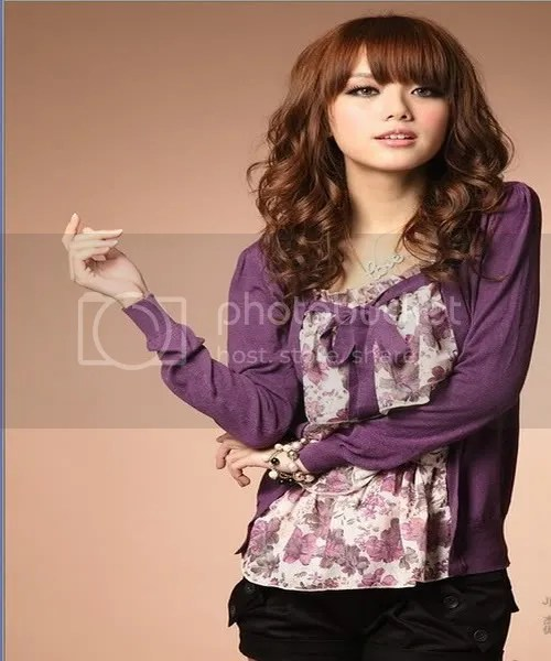 F6556 pretty floral printed to fake two cotton knit & # 34923; (purple)