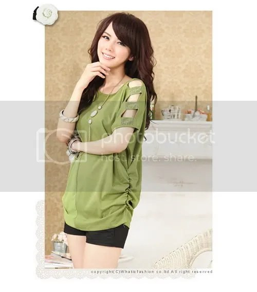 N8127 enthusiasm strapless Diamond Chiffon stitching wrinkle & # 26825; quality loose T-shirt (mustard green)