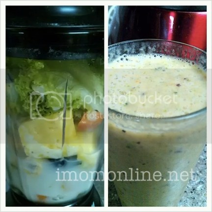 healthy smoothies  Lettuce + pineapples + carrots  grapes cucumber peaches banana banana blended in soy milk