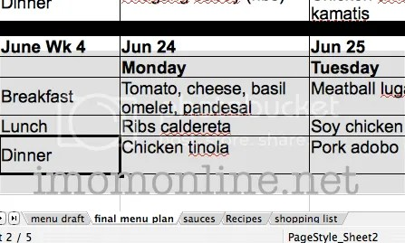 menu planning excel file