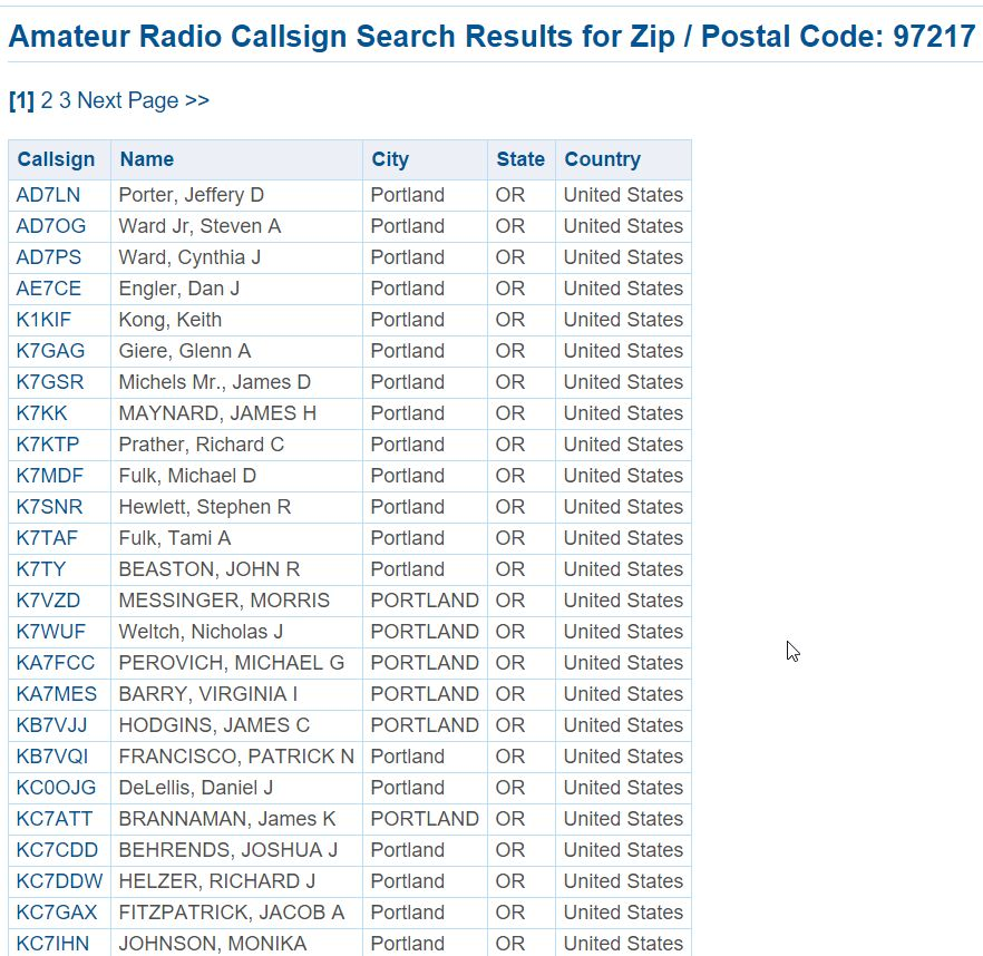 Amateur repeater search zip code