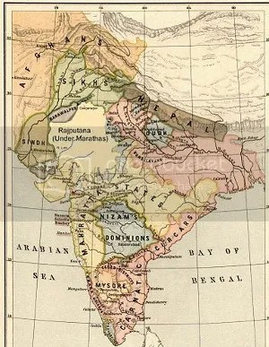 Political Map of India 1805 (via Wikipedia)