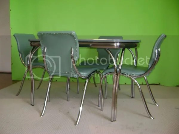 seafoam Green laminate 1940's or 1950's table with chrome legs and chairs