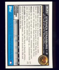 2010 Bowman Chrome Stephen Strasburg Superfractor Back