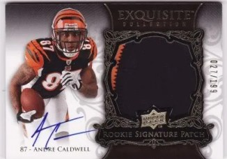 Andre Caldwell 2008 UD Upper Deck Exquisite Football RC Patch Auto /199