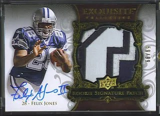 Felix Jones 2008 Upper Deck UD Exquisite Football Trading Card RC Auto Patch