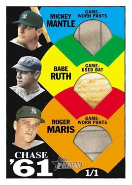 2010 Topps Heritage Ruth Mantle Maris Triple Relic Card
