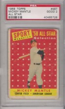 1958 Topps Mickey Mantle PSA 2