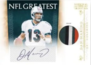 2010 Panini National Treasueres Dan Marino Jersey Patch Autograph NFL Greatest Insert Card