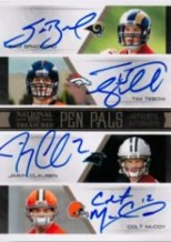 2010 Panini National Treasures Sam Breadford Tim Tebow Jimmy Clausen Colt McCoy CJ Spiller Ryan Matthews Jahvid Best Toby Gerhart Autograph Front